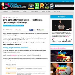 Bing SEO & Ranking Factors - The 'Big Bing' Is The Biggest Opportunity In SEO Today