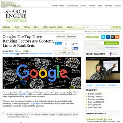 Google Says The Top Three Ranking Factors Are Content, Links & RankBrain