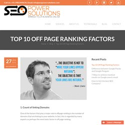 Top 10 Off Page Ranking Factors