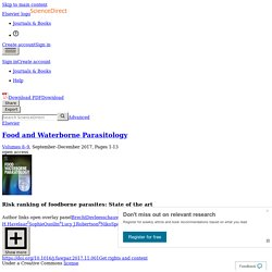Food and Waterborne Parasitology Volumes 8–9, September–December 2017, Risk ranking of foodborne parasites: State of the art