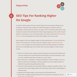 SEO Tips For Ranking Higher On Google