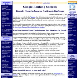 Google Ranking Secrets: Domain Name Influences On Google Rankings