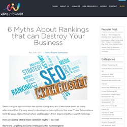 6 Myths About Rankings that can Destroy Your Business
