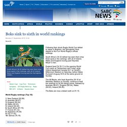 Boks sink to sixth in world rankings:Monday 21 September 2015