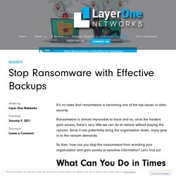 Stop Ransomware with Effective Backups