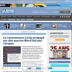 Le ransomware Locky propagé par des macros Word fait des ravages