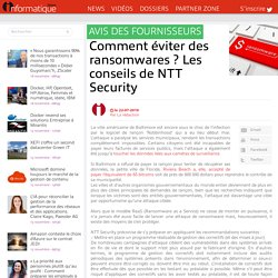 Comment éviter des ransomwares ? Les conseils de NTT Security