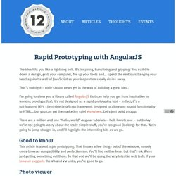Rapid Prototyping with AngularJS