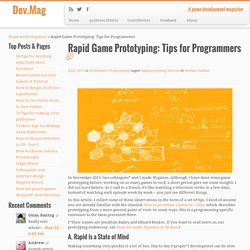 Rapid Game Prototyping: Tips for Programmers