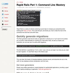 Alex Young: Rapid Rails Part 1: Command Line Mastery