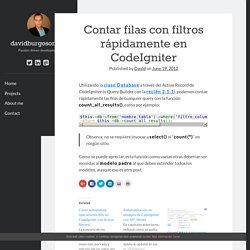 Contar filas con filtros rápidamente en CodeIgniter