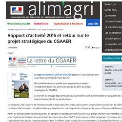 MAAF 24/06/16 Rapport d'activité 2015 et retour sur le projet stratégique du CGAAER.