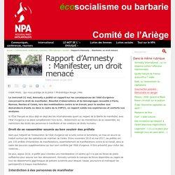 Rapport d'Amnesty : Manifester, un droit menacé