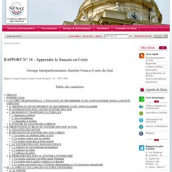 RAPPORT N° 18 - Apprendre le français en Corée