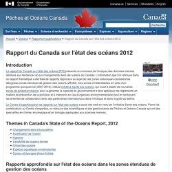 PECHES ET OCEANS CANADA 13/08/12 Rapport du Canada sur l'état des océans, 2012
