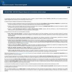 2014/2217(INI) - 28/01/2015 Rapport déposé de la commission, lecture unique