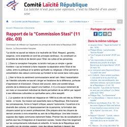 """Rapport de la """"Commission Stasi"""" (11 déc. 03)"""