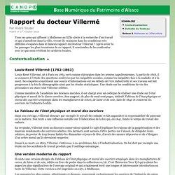 Rapport du docteur Villermé