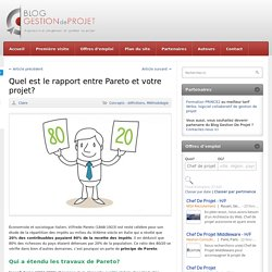 Quel est le rapport entre Pareto et votre projet?