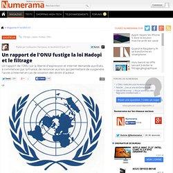 Un rapport de l'ONU fustige la loi Hadopi et le filtrage