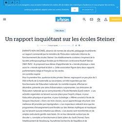 Un rapport inquiétant sur les écoles Steiner - Le Parisien
