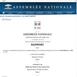 251 annexe 46 - Rapport de M. Régis Juanico sur le projet de loi de finances pour 2013 (n°235)