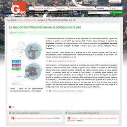 Politique de la ville_Le rapport de l'Observatoire de la politique de la ville 2016_ONPV