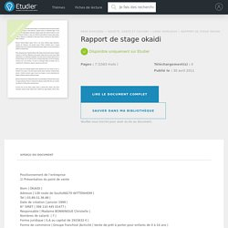 Rapport de stage okaidi - Compte Rendu - Stephaniebr