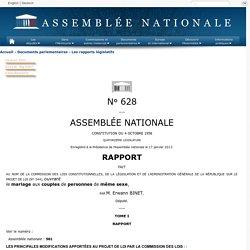 628 tome I - Rapport sur le projet de loi ouvrant le mariage aux couples de personnes de même sexe (n°344)