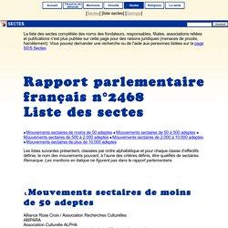 Sectes: liste des sectes du rapport parlementaire français