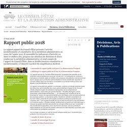 CONSEIL D'ETAT 17/05/18 Rapport public 2018