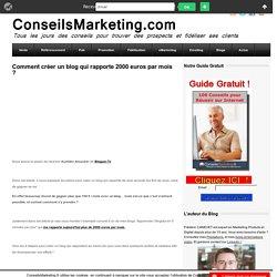 Comment créer un blog qui rapporte 2000 euros par mois ?ConseilsMarketing.fr