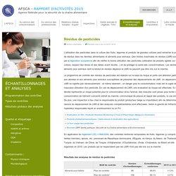 AFSCA - Rapport d'activités 2015 - Résidus de pesticides
