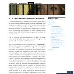 iii. Les rapports entre nouveaux et anciens médias