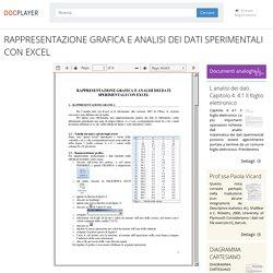 RAPPRESENTAZIONE GRAFICA E ANALISI DEI DATI SPERIMENTALI CON EXCEL - PDF Free Download