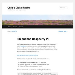 I2C and the Raspberry Pi