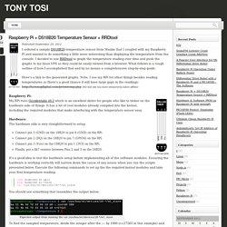 Raspberry Pi + DS18B20 Temperature Sensor + RRDtool « Tony Tosi