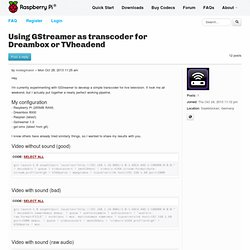 Using GStreamer as transcoder for Dreambox or TVheadend