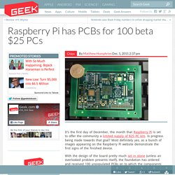 Raspberry Pi has PCBs for 100 beta $25 PCs – Computer Chips & Hardware Technology