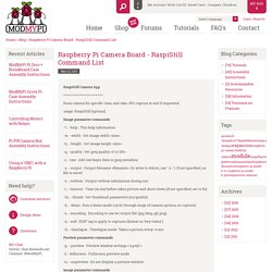 Raspberry Pi Camera Board - RaspiStill Command List