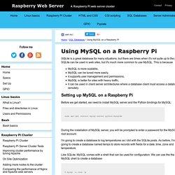 Using MySQL on a Raspberry Pi
