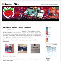 Raspberry Pi Speakers & Analog Sound Test