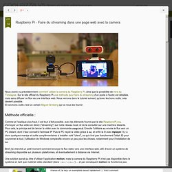 Raspberry Pi - Faire du streaming dans une page web avec la camera