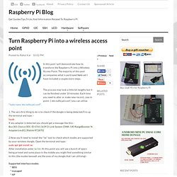 Raspberry Pi Blog: Turn Raspberry Pi into a wireless access point