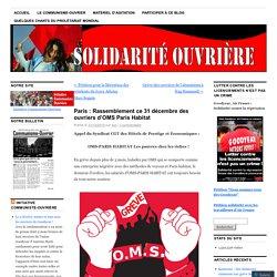 Paris : Rassemblement ce 31 décembre des ouvriers d'OMS Paris Habitat