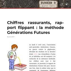 Chiffres rassurants, rapport flippant : la méthode Générations Futures – Bunker D