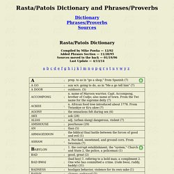 Rasta/Patois Dictionary