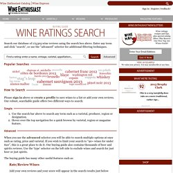 Search Wine Ratings, Wine Reviews & More - Wine Enthusiast Buying Guide
