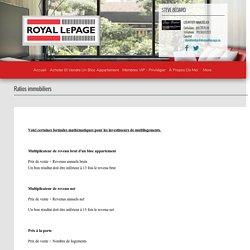 Ratios immobiliers - Steve Bédard, Royal LePage Vallée De L'Outaouais