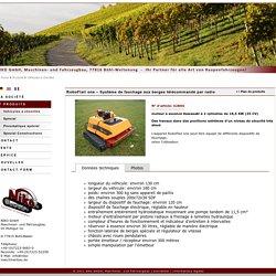 """NIKO GmbH, Maschinen- und Fahrzeugbau, Raupenfahrzeuge, 77815 Bühl-Weitenung, RoboFlail one, RoboFlail one – Système de fauchage aux berges télécommandé par radio"""""""